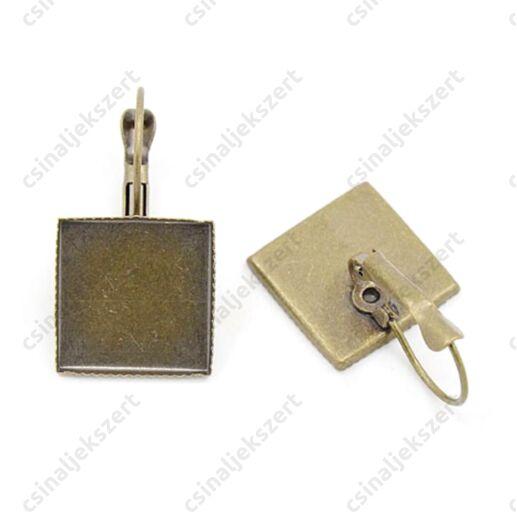 Antikolt bronz színű francia kapcsos négyzet tányéros fülbevaló alap 15x15 mm