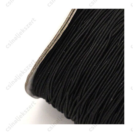 Hengeres gumis fűzőszál 1 mm fekete
