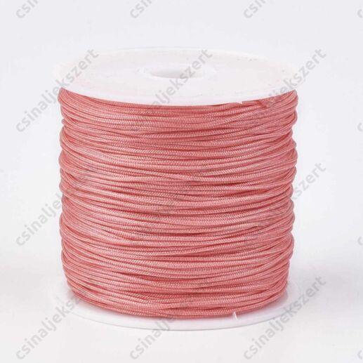 Lazac rózsaszín 0.8 mm vastag fonott selyemszál