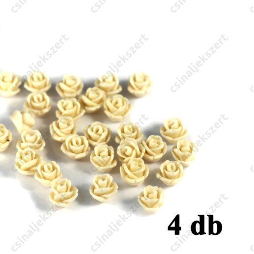 6 mm Vajszínű Műanyag rózsa virág kaboson