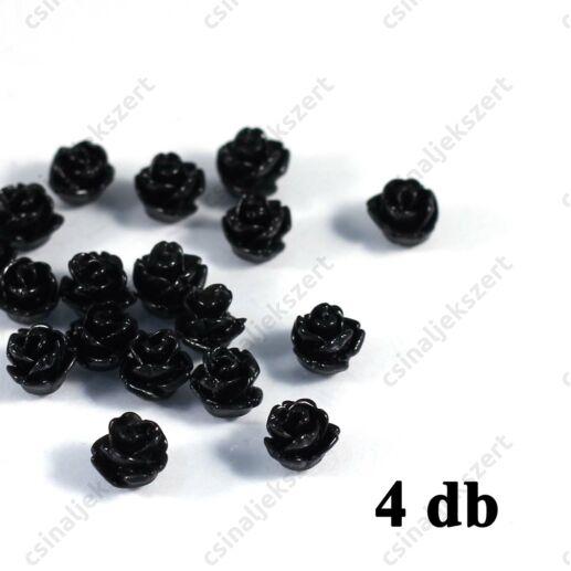 6 mm Fekete Műanyag rózsa virág kaboson