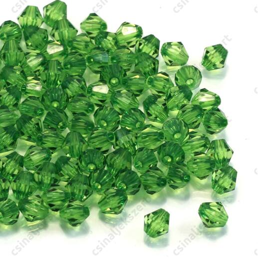 6 mm Zöld bicone kúpos akril gyöngy