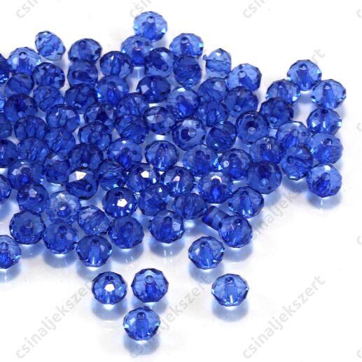 6x4 mm Kék abacus rondell alakú akril gyöngy