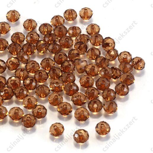 6x4 mm Barna abacus rondell alakú akril gyöngy