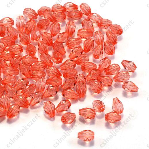 7x5 mm Világos piros csepp alakú akril gyöngy