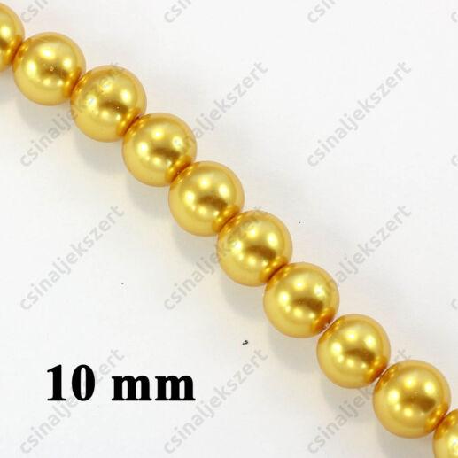 Aranysárga 10 mm 10 db Tekla üveggyöngy
