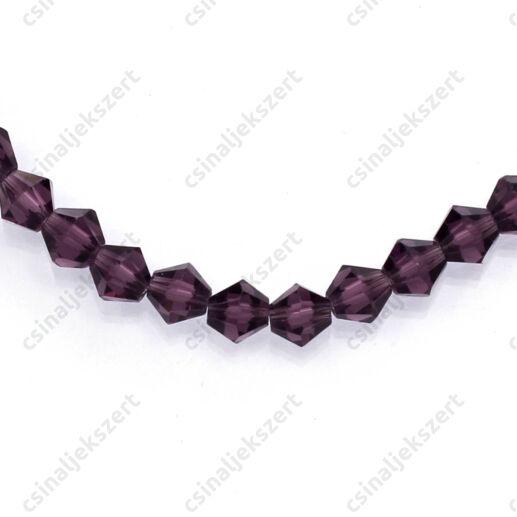 Csiszolt bicone kristály gyöngy 4 mm Violet
