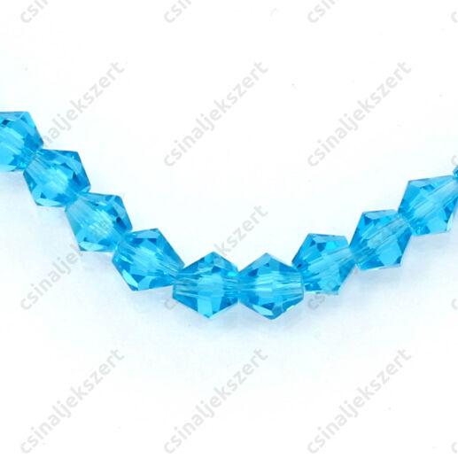 Csiszolt bicone kúpos kristály gyöngy 4 mm Caribbean Blue