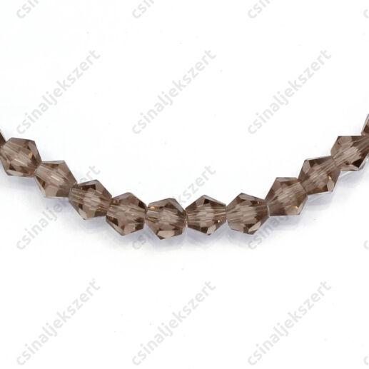 Csiszolt bicone kúpos kristály gyöngy 4 mm Crystal Bronze Shade