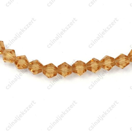 Csiszolt bicone kúpos kristály gyöngy 4 mm Gold Champagne