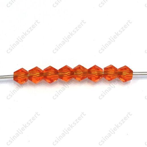 Csiszolt bicone kúpos kristály gyöngy 4 mm Orange Red