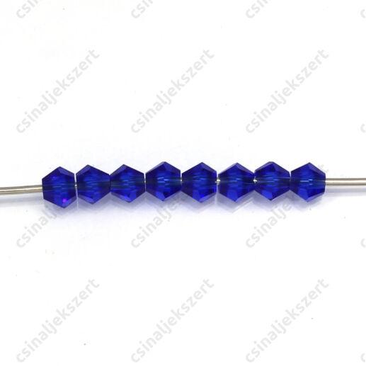 Csiszolt bicone kúpos kristály gyöngy 4 mm Royal Blue