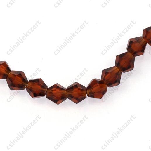Csiszolt bicone kúpos kristály gyöngy 4 mm Smoked Topaz