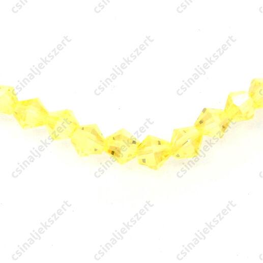 Csiszolt bicone kúpos kristály gyöngy 4 mm Sun AB