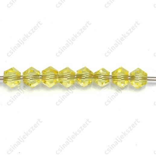 Csiszolt bicone kúpos kristály gyöngy 4 mm Yellow