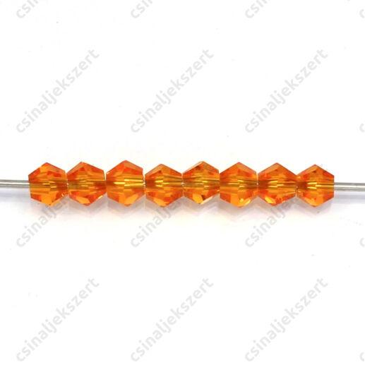 Csiszolt bicone kúpos kristály gyöngy 4 mm Orange