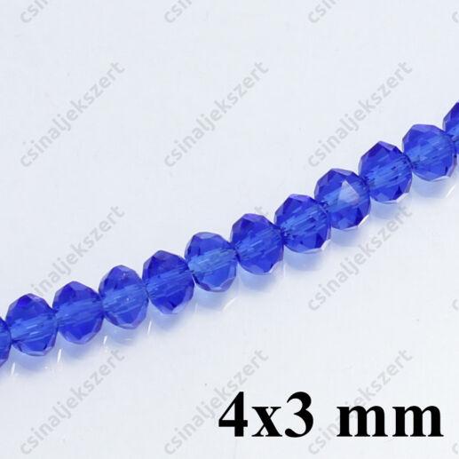 Csiszolt rondell abacus kristály gyöngy 4x3 mm Középkék 25 mm