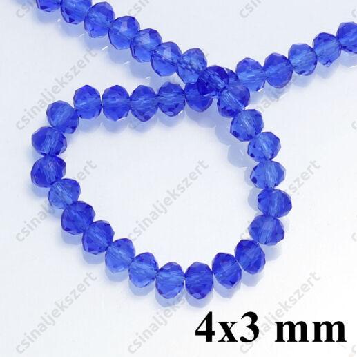 Csiszolt rondell abacus kristály gyöngy 4x3 mm Középkék 1 szál