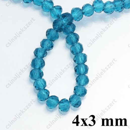 Csiszolt rondell abacus kristály gyöngy 4x3 mm Sötét Cián 1 szál
