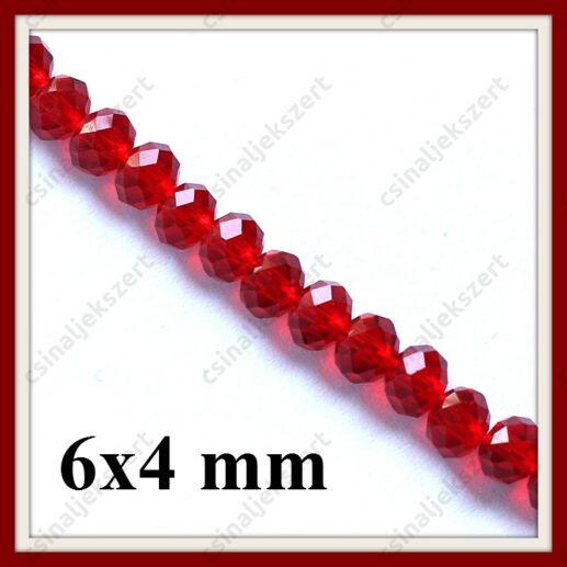 Csiszolt rondell abacus kristály üveggyöngy 6x4 mm 20 db Piros