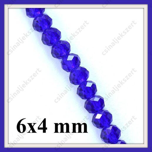 Csiszolt rondell abacus kristály üveggyöngy 6x4 mm 20 db Sötétkék