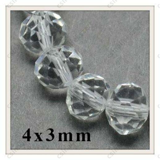 Csiszolt rondell abacus kristály üveggyöngy 4x3 mm 25 db Áttetsző Kristály