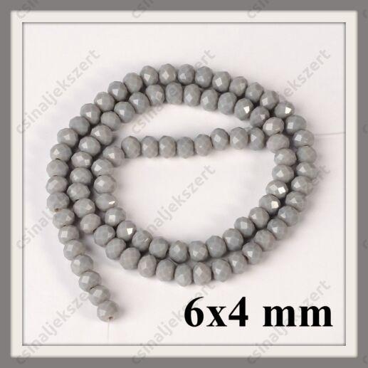 Csiszolt rondell abacus kristály gyöngy 6x4 mm 1 szál Opak Sötét Szürke