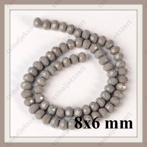 Csiszolt rondell abacus kristály gyöngy 8x6 mm 1 szál Opak Szürke AB