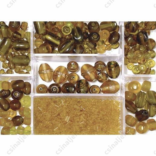 Dobozos 115g Barna színű vegyes gyöngy