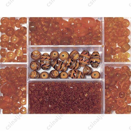 Dobozos 115g Narancssárga színű vegyes gyöngy