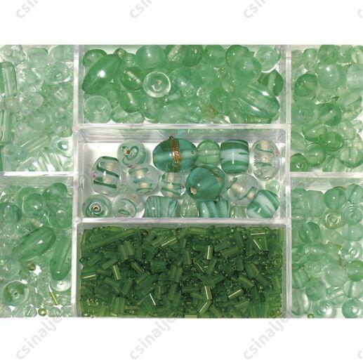Dobozos 115g Zöld színű vegyes gyöngy