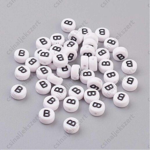 Fehér színű kerek B betű gyöngy
