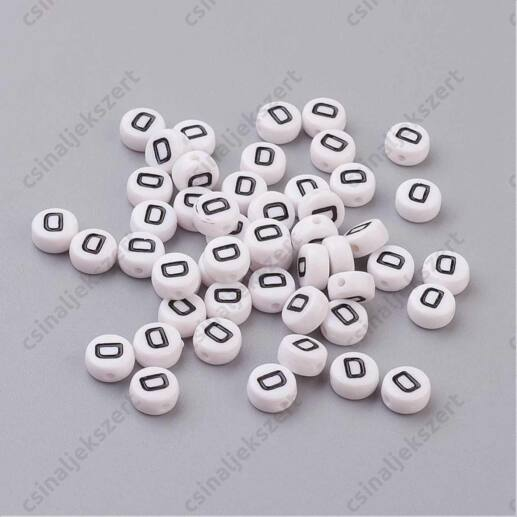 Fehér színű kerek D betű gyöngy