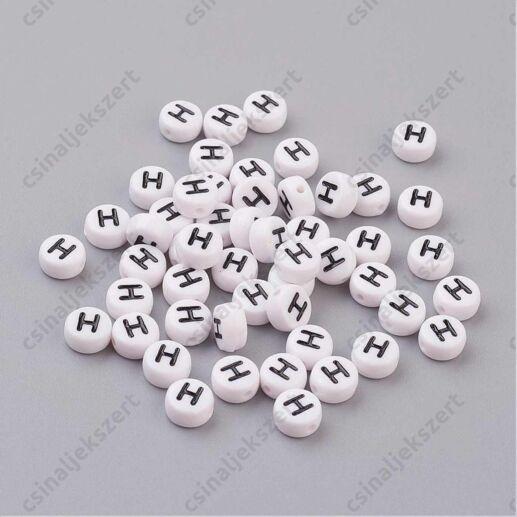 Fehér színű kerek H betű gyöngy