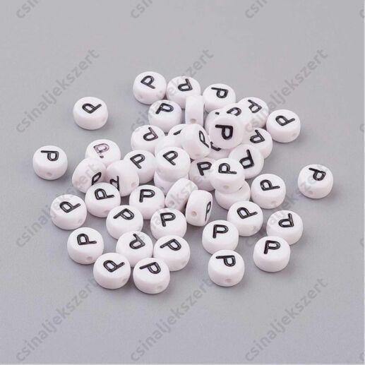 Fehér színű kerek P betű gyöngy