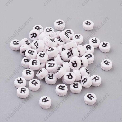 Fehér színű kerek R betű gyöngy