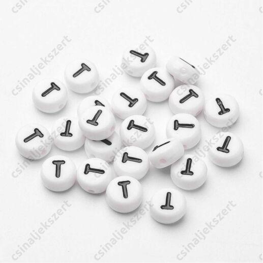 Fehér színű kerek T betű gyöngy