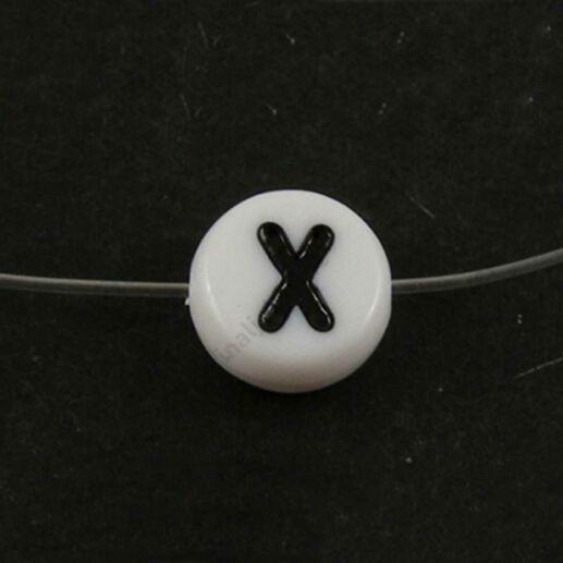 Fehér színű kerek X betű gyöngy