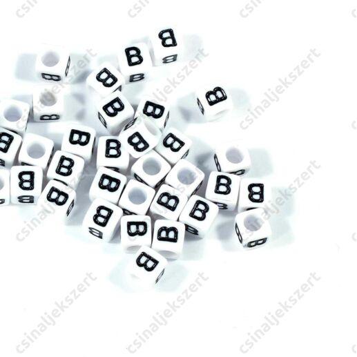 Fehér színű, kocka alakú B betű gyöngy