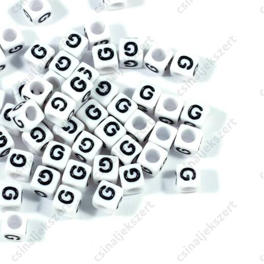 Fehér színű, kocka alakú G betű gyöngy