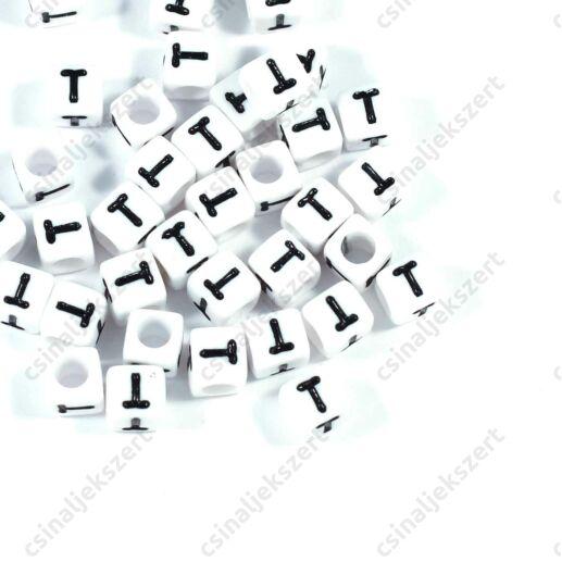 Fehér színű, kocka alakú T betű gyöngy