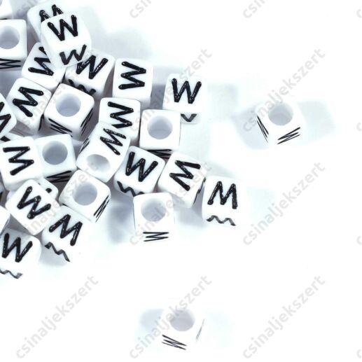 Fehér színű, kocka alakú W betű gyöngy