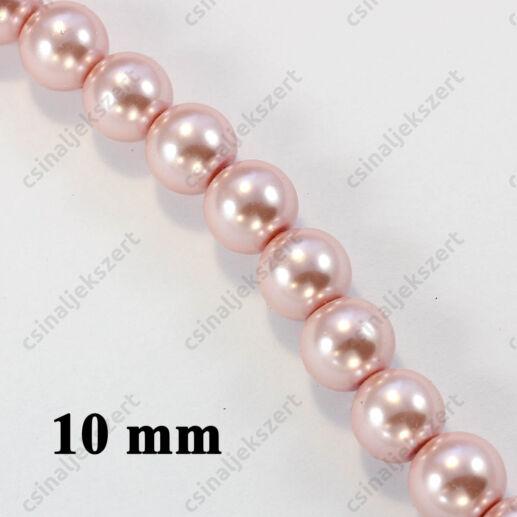 Halvány rózsaszín 10 mm 10 db Tekla üveggyöngy
