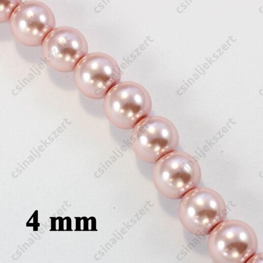 Halvány rózsaszín 4 mm 25 db Tekla üveggyöngy
