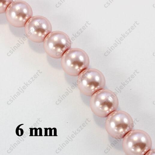 Halvány rózsaszín 6 mm 20 db Tekla üveggyöngy