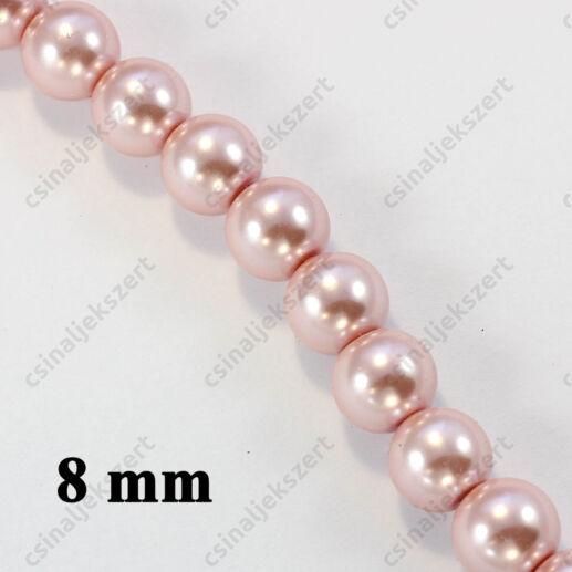 Halvány rózsaszín 8 mm 15 db Tekla üveggyöngy