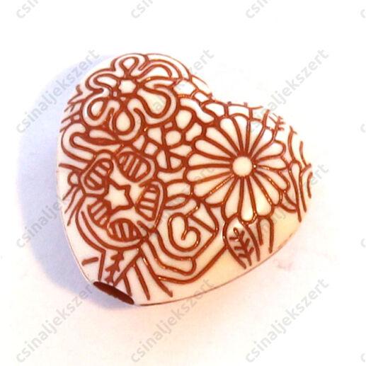 4 db Nagyméretű szív, virágmintás akril gyöngy Barna