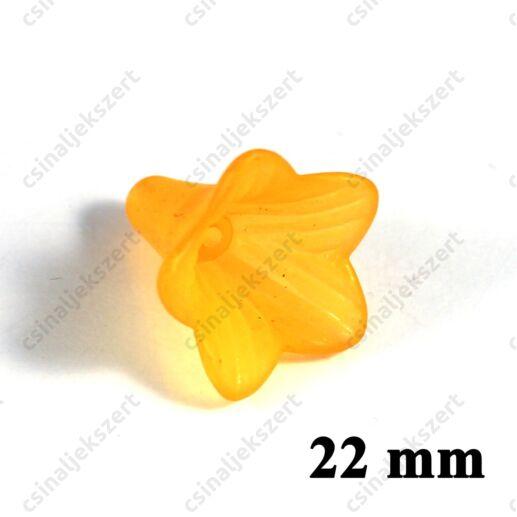 Narancssárga 22 mm akril jeges hatású harangvirág akril gyöngy