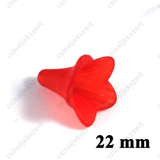 Piros 22 mm akril jeges hatású harangvirág akril gyöngy