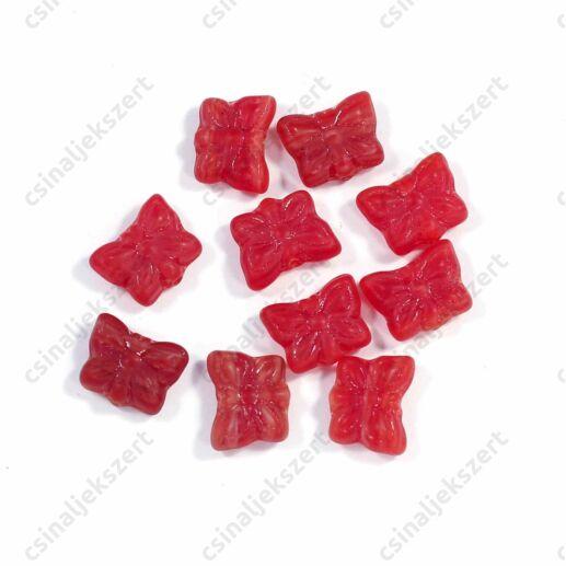 10 mm Piros lepke alakú cseh préselt üveggyöngy